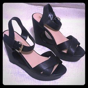 Black Wedges, peep-toe. Size 8.5